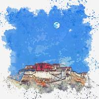 Blue Moon over Lhasa Palace in Tibet -  watercolor