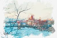 Budapest, Hungary watercolor by Ahmet Asar