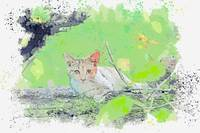 Cat Animal Nature Mammal -  watercolor by Adam Asa
