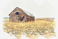 Deserted Barn -  watercolor by Adam Asar