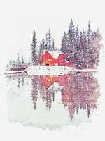 Cottage at Emerald Lake, Canada -  watercolor by A