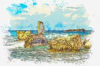 Cyprus Coastal Seascape 6 -  watercolor by Ahmet A