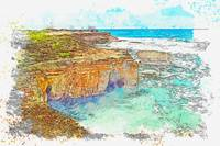Cyprus Coastal Seascape 5 -  watercolor by Ahmet A