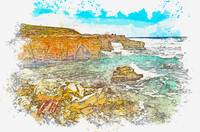 Cyprus Coastal Seascape 2 -  watercolor by Ahmet A