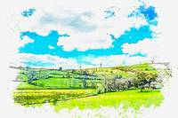 Green Leafed Trees Under Blue Sky -  watercolor by