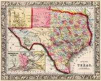 Texas County map 1863