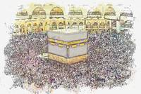 Kaaba, Mecca, Saudi Arabia  c2019, watercolor by A