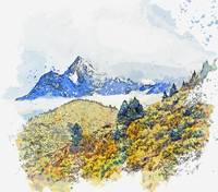 Himalayas, Ranwu,Tibet, China -  watercolor by Ada