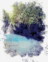 Little Waterfall, Costa Rica -  watercolor by Ahme