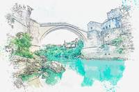 Mostar, Bosnia and Herzegovina watercolor by Ahmet