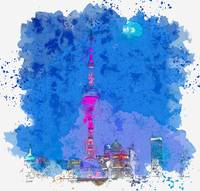 Oriental Pearl TV Tower, China  c2019, watercolor