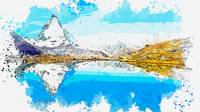 Panorama Matterhorn watercolor by Ahmet Asar