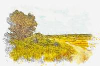 Panoramic Plateau Dirt Road 2 -  watercolor by Ahm