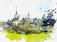 Peles Transylvania Romania watercolor by Ahmet Asa