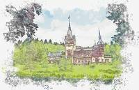 Peles Castle Romania -  watercolor by Ahmet Asar