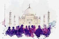 People Looking Mosque, Taj Mahal  c2019, watercolo