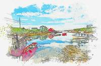 Port houses by a little inlet watercolor by Ahmet