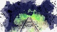 Rails to nowhere -  watercolor by Ahmet Asar