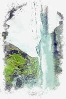 Seljalandsfoss, Iceland watercolor by Ahmet Asar