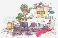 Taghazout, Morocco watercolor by Ahmet Asar