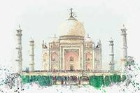 Taj Mahal, India watercolor by Ahmet Asar