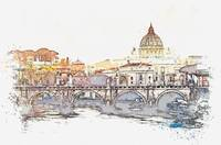 The Vatican City at the Heart of Rome watercolor b