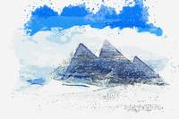 Winter at Gizeh Pyramids Egypt watercolor by Ahmet