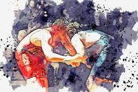 Wrestling watercolor by Ahmet Asar