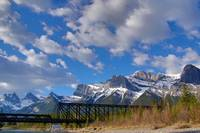 Rocky Mountains and Railway Bridge