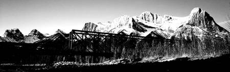 Old bridge in black and white