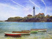 portland head light with rowboats