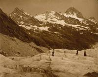 Adolphe Braun~Alpine Landscape, Three Hikers on a
