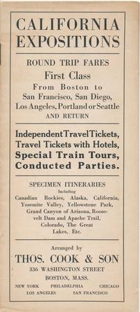 1915 Thos. Cook & Son Railroad Train Trips to West