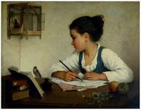 A Girl Writing. The Pet Goldfinch by Henriette Bro