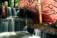 red wall waterfall