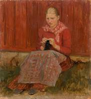 ALBERT EDELFELT, A GIRL KNITTING