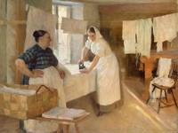 Albert EDELFELT, Two women with laundry