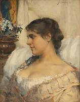 Albert Edelfelt-Young woman in his boudoir 1879