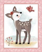Little Woodland Friends - Fawn and Bird