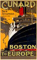 Cunard, Boston to Europe Vintage Travel Poster