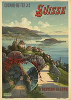 Travers le Jura, Switzerland Vintage Travel Poster