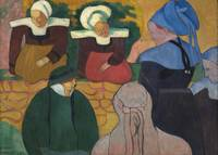 Breton Women at a Wall by Émile Bernard