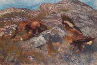 BRUNO LILJEFORS, GOLDEN EAGLES ATTACKING A HARE