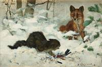 BRUNO LILJEFORS, HUNTING CAT SURPRISED BY A FOX