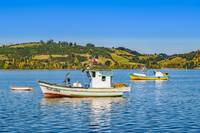 Fishing Boats at Lake, Chiloe, Chile
