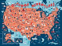 Illustrated Map of USA Outdoors by Nate Padavick