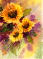 Golden Sunflowers Watercolor