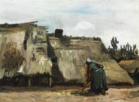 Peasant Woman Digging in Front of Cottage (1885)