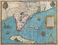 Map of Florida and Cuba 1591 De Bry & Le Moyne