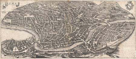 Panoramic View or Map of Rome, Italy 1652 Merian
